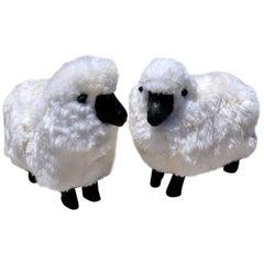 Pair of Resin and Fur Sheep Sculptures