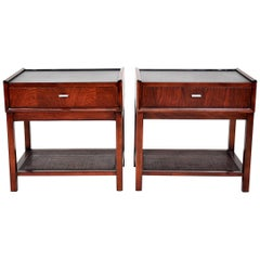 Pair of Rosewood, Cane and Black Leather Nightstands or Side Tables by Founders