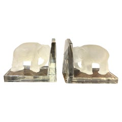 Pair of Signed Crystal Elephant Bookends