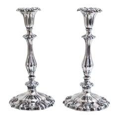 Pair of Silver Candlesticks, Sheffield, 1846