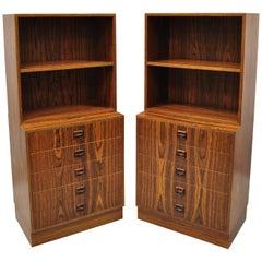 Pair of Small Midcentury Danish Modern Rosewood Modular Bookcase Chest Shelf