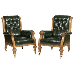 Pair of Green Leather St James's Club Library Armchairs of the late 19th Century