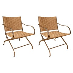 Pair of Steel and Rattan Armchairs