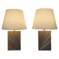 Pair of Straw Marquetry Table Lamps, Art Deco Style