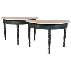 Pair of Swedish Demilune Console Tables