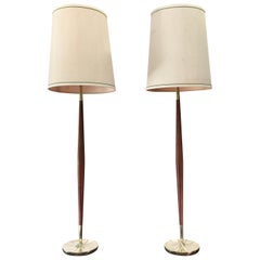 Pair of Tapered Walnut and Brass Floor Lamps by Stiffel