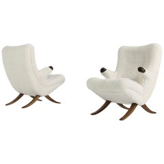 Pair of Unique 1950s Organic Lounge Chairs Teddy Fur & Leather Midcentury Modern