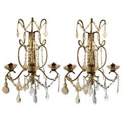 Pair of Venetian Three-Arm Mirror Back Wall Sconces