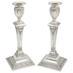 Pair of Victorian Adam-Style Sterling Silver Candlesticks