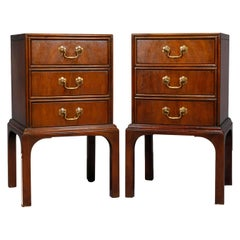 Pair of Vintage Mahogany Kittinger Chinese Chippendale Stands, circa 1950