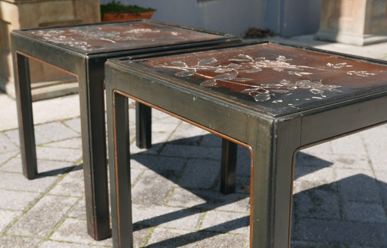 Pair of Vintage Parsons Tables inset with 18th Century Chinese Panels In Distressed Condition For Sale In Kilmarnock, VA
