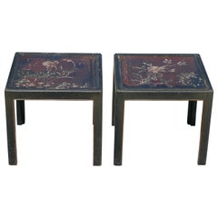 Pair of Vintage Parsons Tables inset with 18th Century Chinese Panels