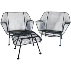 Pair of Woodard Wrought Iron with Mesh Lounge Chairs
