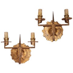Pair of wrought iron wall light