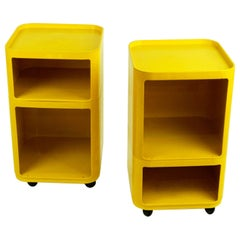 Pair of Yellow Space Age Plastic Bar Trolleys by Anna Castelli for Kartell Italy