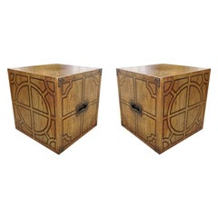 Pair or Decorative Side Tables/Cubes with Geometric Design
