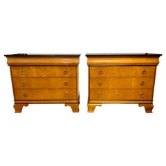 Neoclassical Style Marble-Top Dressers Nightstands Chests, Pair