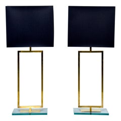 Pair of Tall Modernist Brass and Glass Lamps with Black Shades