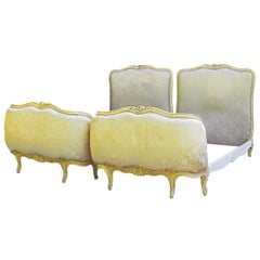 Pair of Twin Beds Vintage French Louis Upholstered Includes Recovering