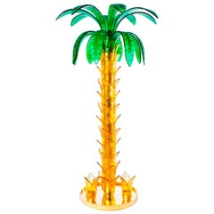 Palm Floor Lamp in Murano Glass Amber and Green Vintage Murano Gallery, 1990s