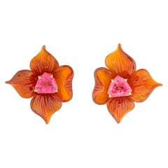 Paloma Picasso for Tiffany & Co. Carved Carnelian and Tourmaline Earrings