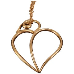 Paloma Picasso Tiffany & Co 18k Gold Heart Pendant and Chain