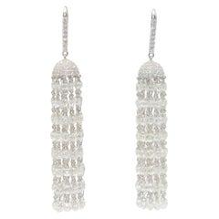 Panim 30 Carat Diamond Briolette 18 Karat White Gold Tassel Earrings