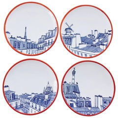 Paris Plate Set, 4 Iconic Rooftops