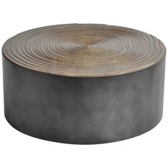 Parisian Round Oakwood Coffee Table with Metal Base