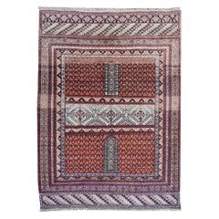 Part Silk Rug Hatchlou Engsi Tribal Vintage Carpet from Afghan Turkoman Tribe