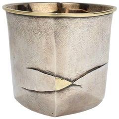 Pat Flynn Mixed Metals Sterling Silver and 18 Karat Gold Beaker or Tumbler