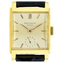 """Patek Philippe 2476 Rectangular """"Bombe'"""" 18K Gold, Vintage Manual Winding Watch"""