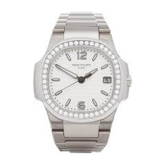 Patek Philippe Nautilus Diamond 18 Karat White Gold 7010G