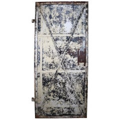 Patinated Antique Industrial Iron Door, France, 19th Century