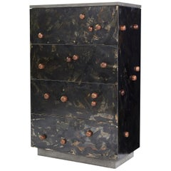 "Patinated Steel Veneer ""Highboy with Protrusions"" in Walnut with Drawers"