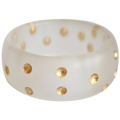 Patricia von Musulin Frosted Lucite and 24kt Gold Dot Bangle