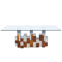 "Paul Evans ""Cityscape"" Burl Wood & Chrome Dining Table for Directional"