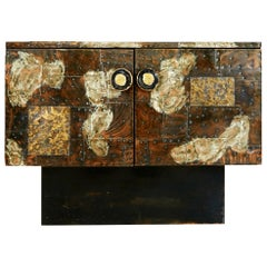 Paul Evans Patchwork Copper Cabinet with Slate Top for Directional, 1967