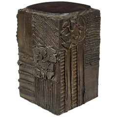 Paul Evans Side Table, Sculpted Bronze and Walnut, Signed