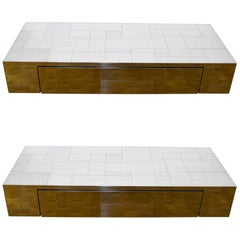 Paul Evans Signed Cityscape Consoles or Nightstands, 1970s