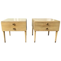 Paul Frankl for Johnson Furniture Pair of Cork Topped Nightstands