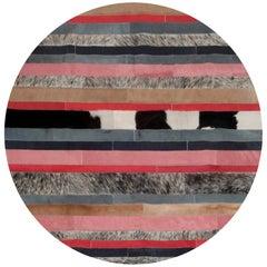 Peach, Gray & White Round Nueva Raya Customizable Cowhide Area Floor Rug Medium