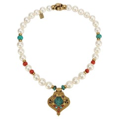 Pearl Coral and Turquoise Necklace with a Tibetan Gau Gilt Silver Pendant Estate