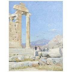 Peder Mønsted Oil Painting of Acropolis 'Athens'