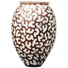 Per Weiss, Colossal Stoneware Floor Vase with Relief Windings