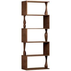 Perbacco, Contemporary Bookcase Made of Ash Wood with Hand Turned Columns