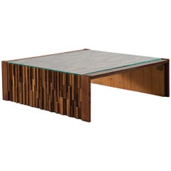 Percival Lafer Large Coffee Table with Mosaic of Brazilian Hardwoods