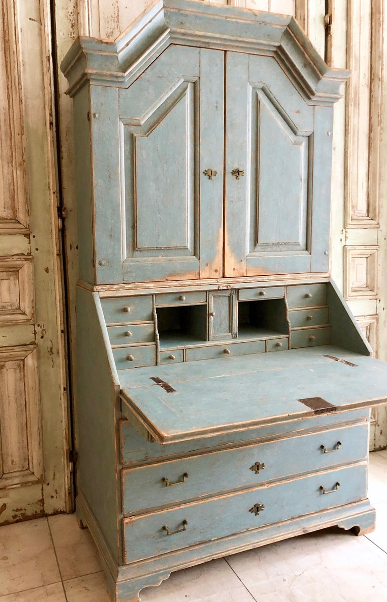 Hand-Carved Period Gustavian Swedish Secretaire Cabinet For Sale