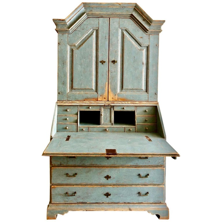 Period Gustavian Swedish Secretaire Cabinet For Sale