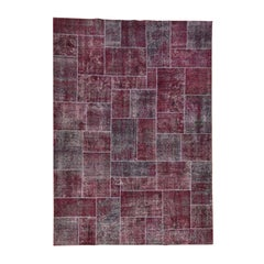 Persian Overdyed Patchwork Handmade Pure Wool Vintage Carpet